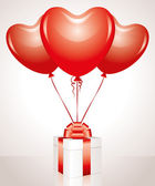 Gift and balloons — Stock Vector