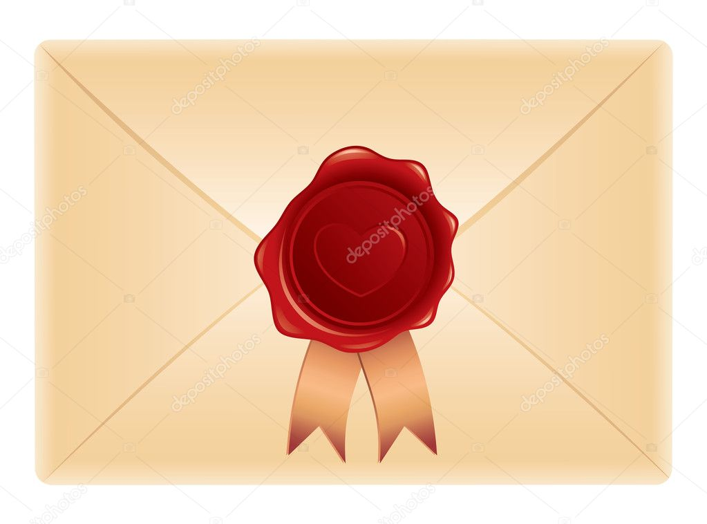 Realistic envelope with wax stamp on white background — Stock Vector #7316064