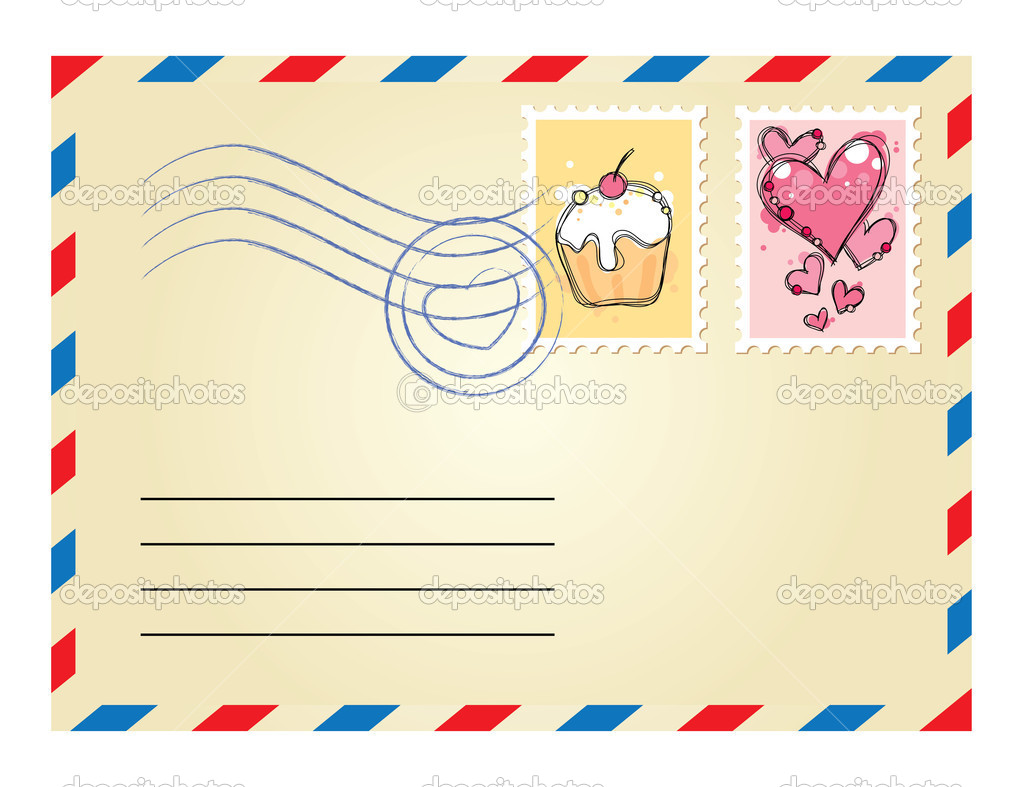 Beige envelope with postage stamps on white background — Stock Vector #7316065