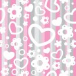 Vector de stock : Seamless pattern with hearts and flowers