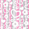 Stock vektor: Seamless pattern with hearts and flowers