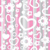 бесшовный фон с сердечками и цветами — Cтоковый вектор