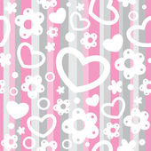 Seamless pattern with hearts and flowers — 图库矢量图片