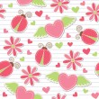 Cute romantic seamless pattern - Stock Vector