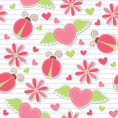 Cute romantic seamless pattern — ストックベクタ