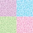 Vector de stock : Hand drawn seamless patterns