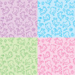 Hand drawn seamless patterns — Stok Vektör #7490497
