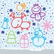 Christmas hand drawn design — Stock Vector