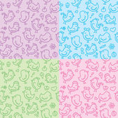 Hand drawn seamless patterns — 图库矢量图片
