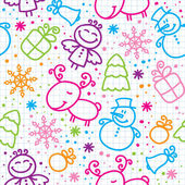 Christmas hand drawn seamless pattern — Stock Vector