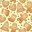 Gingerbread seamless pattern — Stock Vector #7541783