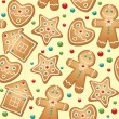 Gingerbread seamless pattern - Stock Vector