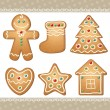 Stock Vector: Set of gingerbread