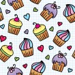 Stock Vector: Pattern with cupcakes