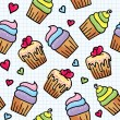 Seamless pattern with cupcakes — Stock Vector