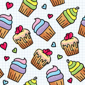 Seamless pattern with cupcakes — Cтоковый вектор
