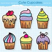 Cupcakes seti — Stok Vektör
