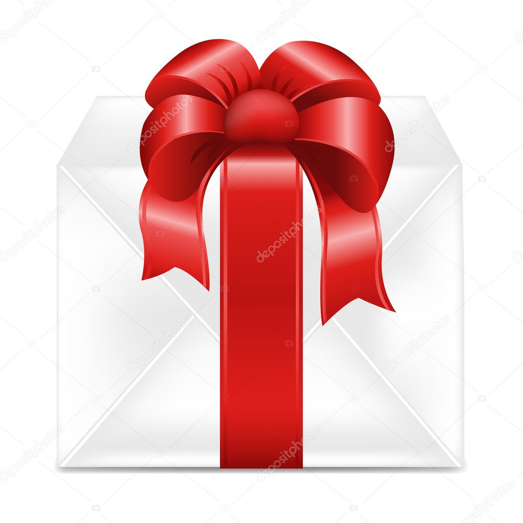 Gift Box With Red Ribbon, Isolated On White Background, Vector Illustration — Stock Vector #7452975