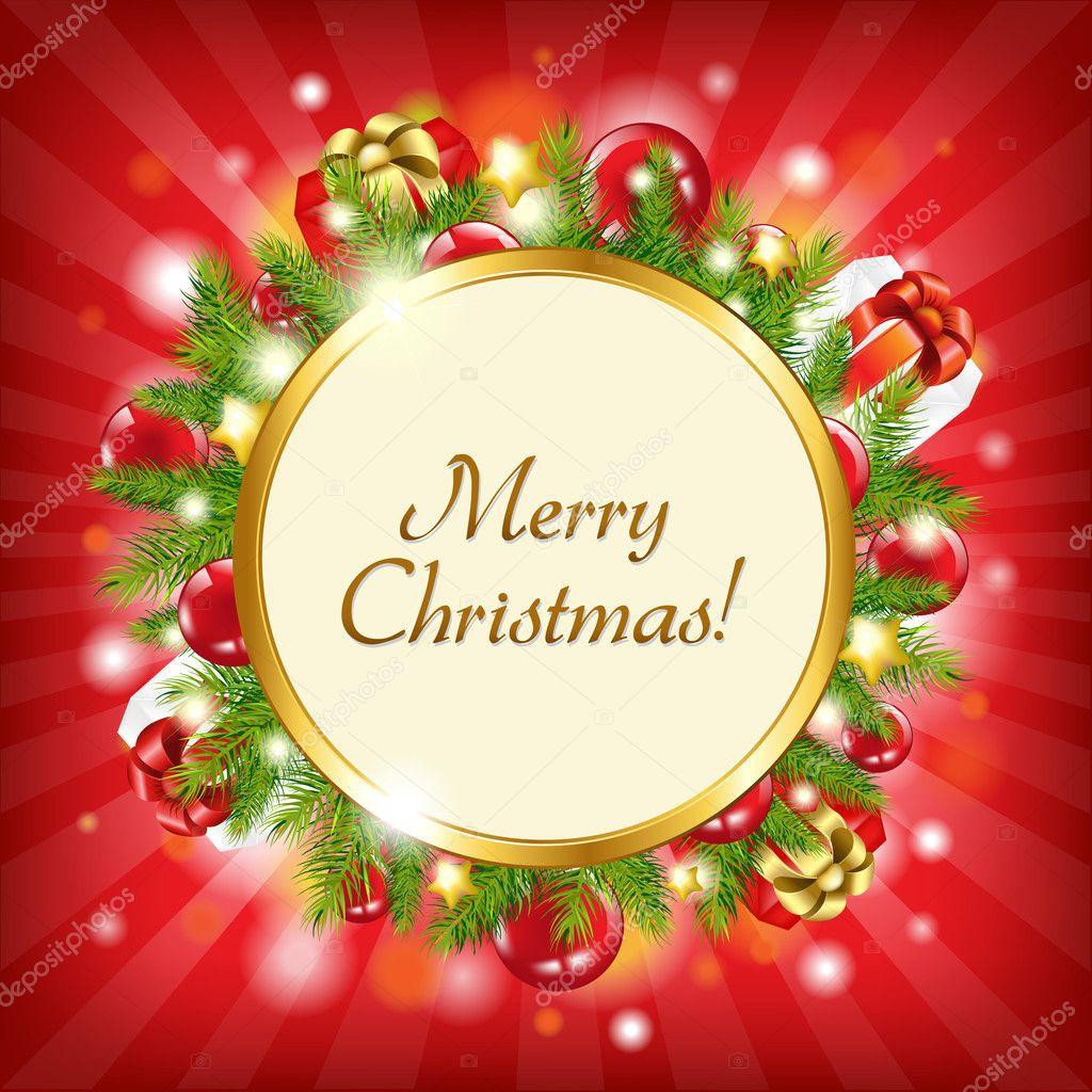 快乐圣诞贺卡,矢量图 — 矢量图片作者 barbaliss