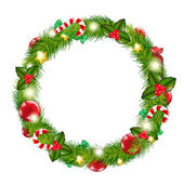 Merry Christmas Wreath — Stock Vector