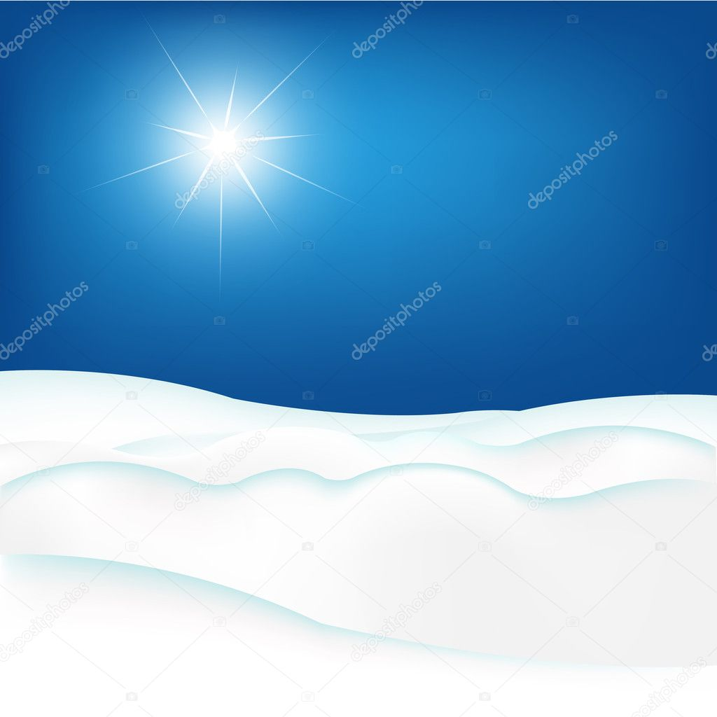 Snow Hill And Blue Sky, Vector Illustration — Stock Vector #7819880