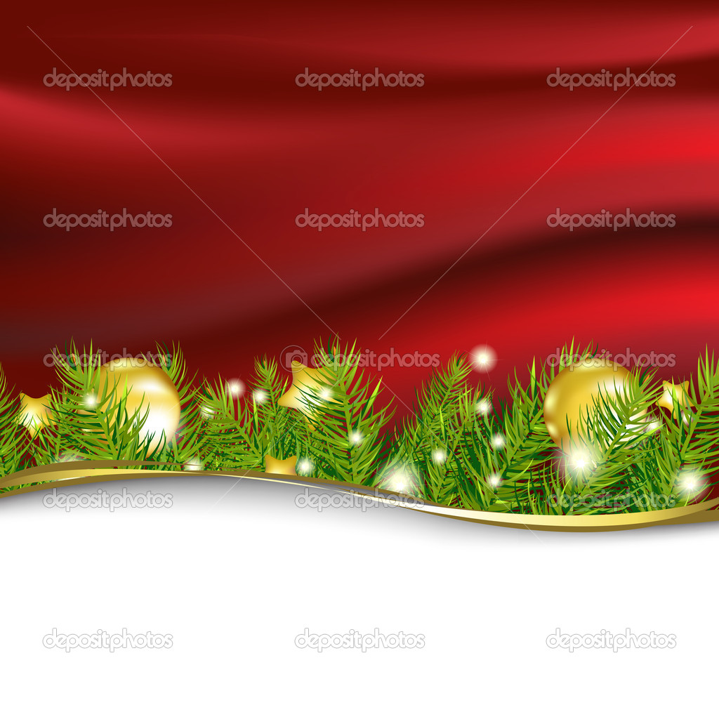 Red New Year Card With Garland, Vector Illustration — Stock Vector #7819900