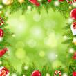 Christmas Tree Border With Blur — Stock Vector