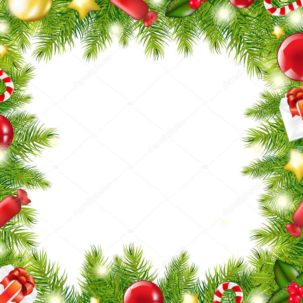 Christmas Page Borders Christmas tree border - stock