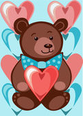 Bear with hearts — Stock Vector