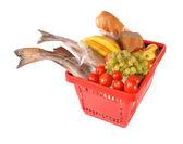 красный корзина с продуктами — Стоковое фото