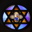 Religious stained glass windows in a church — Stock Photo