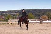 Piloto da bela jovem em uma competição de equitação — Foto Stock