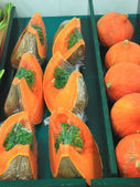 Fresh and colorful pumpkins on a market stall — Stock Photo
