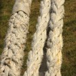 Rope for mooring a boat to a pier - Stockfoto