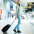 Girl with a suitcase — Stock Photo