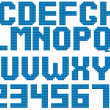 Blue color latin alphabet by square pattern — Stock vektor