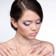 Pretty woman with make up, body care — Stock Photo