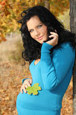 Mujer embarazada hermosa chaqueta azul relajante en el otoño p — Foto de Stock