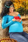 Piękna kobieta w ciąży z czerwonym arrow-wood, jesienią na zewnątrz — Zdjęcie stockowe