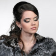 Attractive glamorous woman in fur coat - Photo