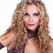 Portrait beautiful lady with blonde curly hairstyle — Stock Photo #7518402