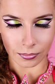 Fashion multicolored make-up of woman face — Stock Photo