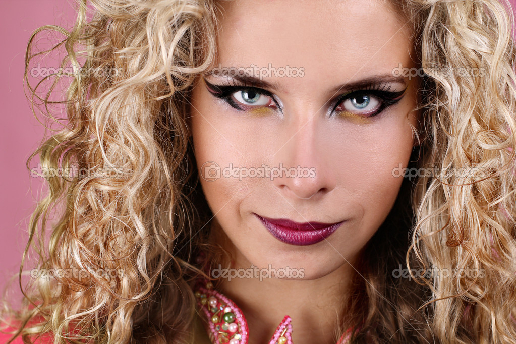 Women Blonde Blue Eyes Long Hair Wavy Hair Portrait: Portrait Of Woman With Blue Eyes And Blonde Curly Hair