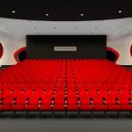 Perspektiva kino červených křesel v kinosále publikum — Stock fotografie #7761439