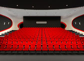 Perspective of Cinema red seats in cinema audience hall — Stock Photo