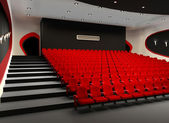 Desolate red cinema hall with comfortable velvet armchairs — Stock Photo