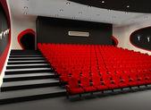 Sala de cine rojo desolado con sillones de terciopelo cómodo — Foto de Stock