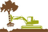 Tractor pulling out a tree — Stock Vector