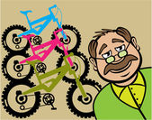 Grandpa welcoming at his bike shop — Stock Vector