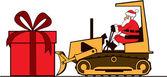 Santa pushing large present on bulldozer — Stock Vector